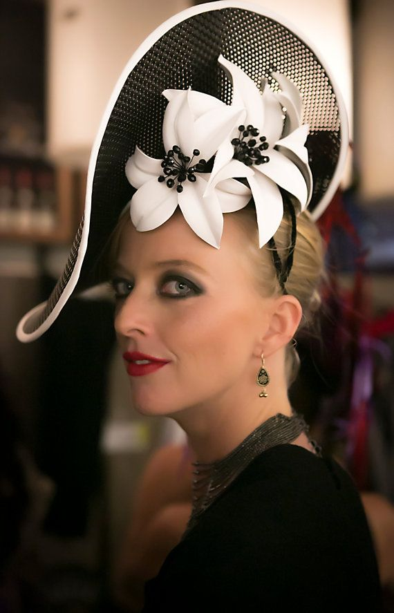 Spring racing Derby Day black and white by AmandaDudleyMilliner 2014 - Hats for lady