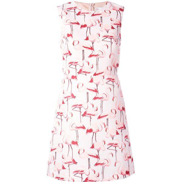 Red Valentino flamingo sleeveless shift dress (3722365 PYG) ❤ liked on Polyvore featuring dresses, white shift dress, white flared skirt, sleeveless shift dress, sleeveless dress and white circle skirt