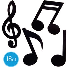 Black Musical Notes Cutouts 18ct- Decorations- Fifties Rock and Roll- Shop by Theme-Party America