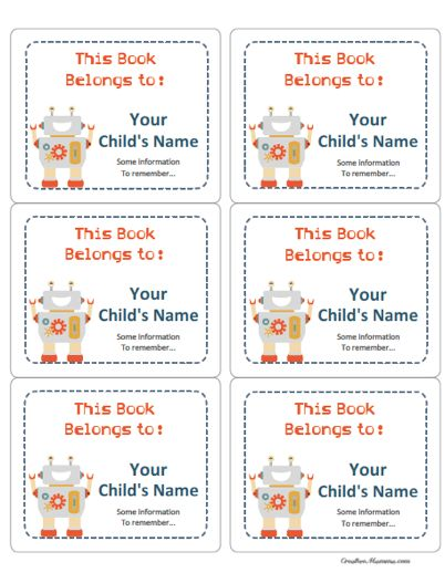 find this pin and more on bookplates robot labels for books for kids property - Printable Books For Kids