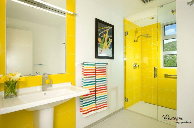 Ярко=желтый солнечный цвет делает интерьер жизнерадостным