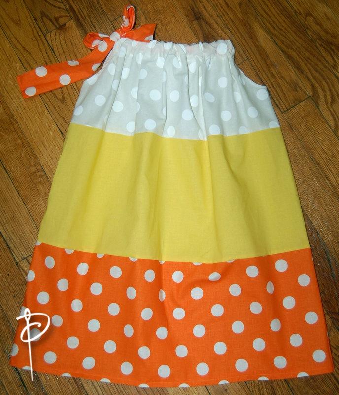 Candy Corn Halloween Pillowcase Dress with Polkadots. $20.00, via Etsy.
