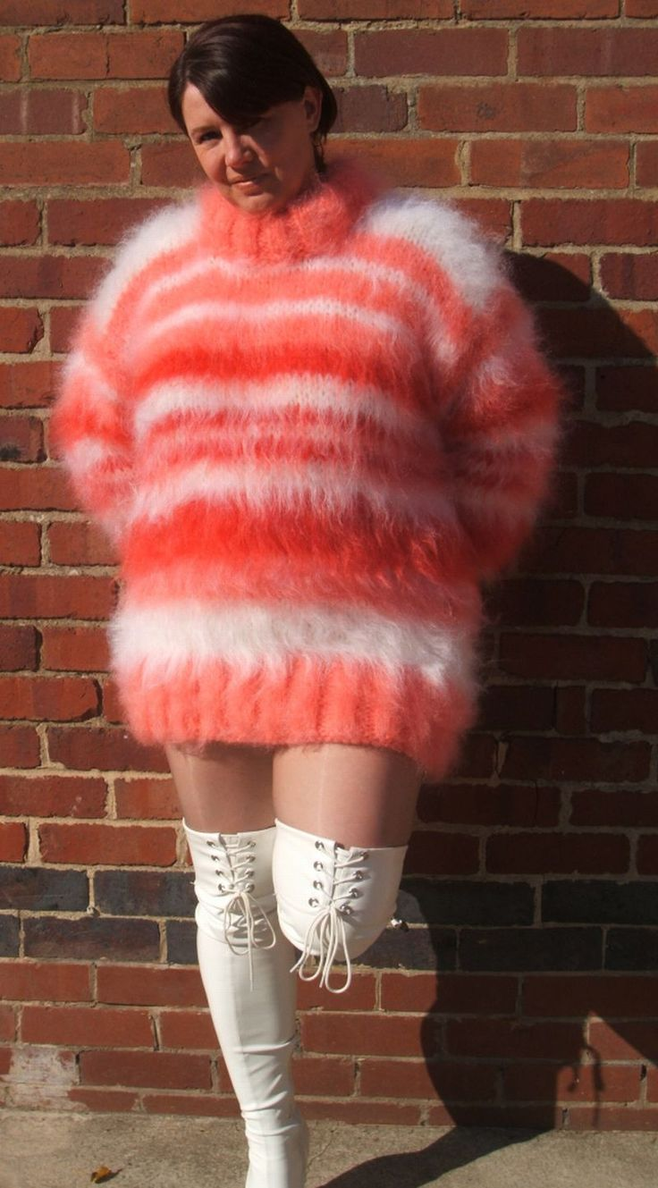 Fluffy and Bulky Mohair Love — Isobel in pink/orange mohair sweater