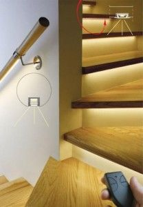 Stair lighting using LUMILUM Warm White Strip Lights.