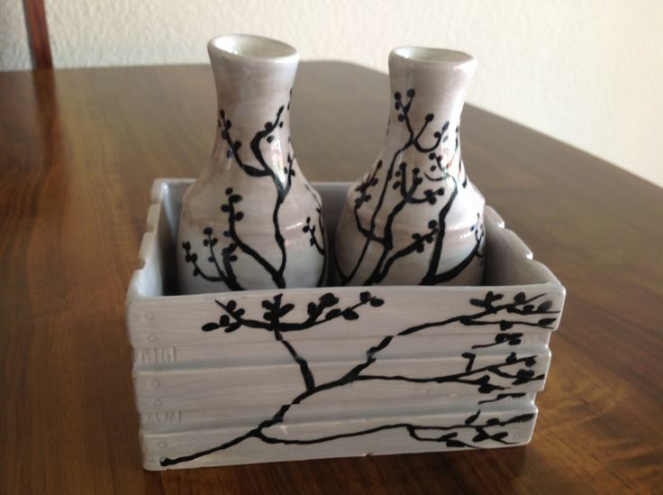 Ceramic Salad dressing set. Hand painted by Lyn Stevenson