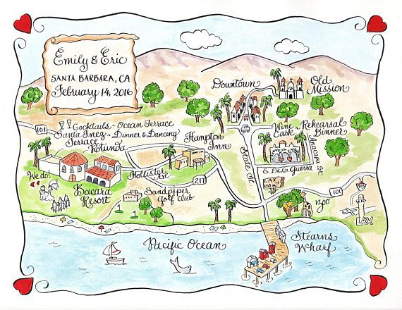 Custom Wedding Map Santa Barbara Ca Hand Drawn Wedding Map