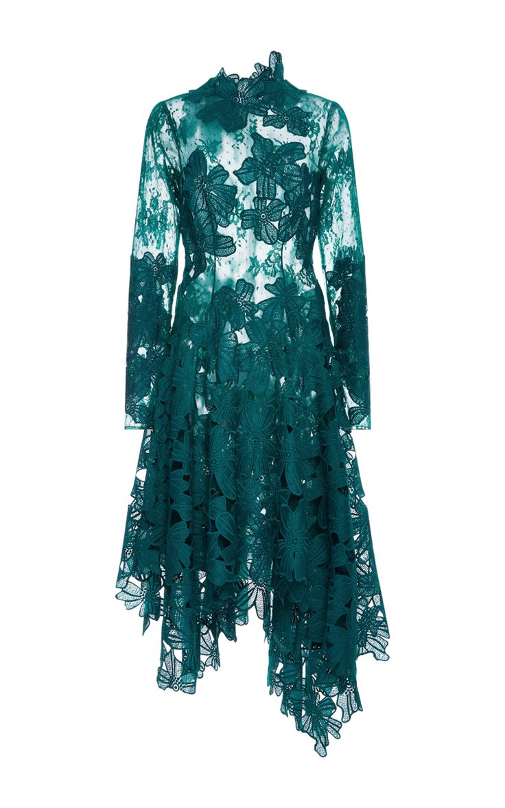 Guipure And Chantilly Lace Asymmetrical Dress by COSTARELLOS for Preorder on Moda Operandi