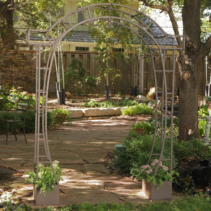 Jeweled Metal Arch Arbor With Planters Arbors At