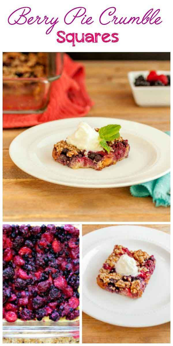 Berry Pie Crumble Squares, paleo, low carb and gluten free.