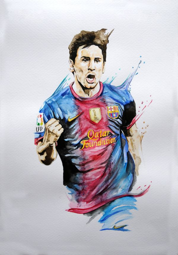 Messi Watercolour by Daniel Berea, via Behance