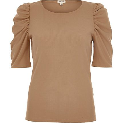 Beige ribbed puff three quarter sleeve top $44.00