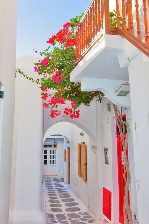 Alley of Chora ~ with pristine white houses and blooming bougainvillea in Mykonos, Greece