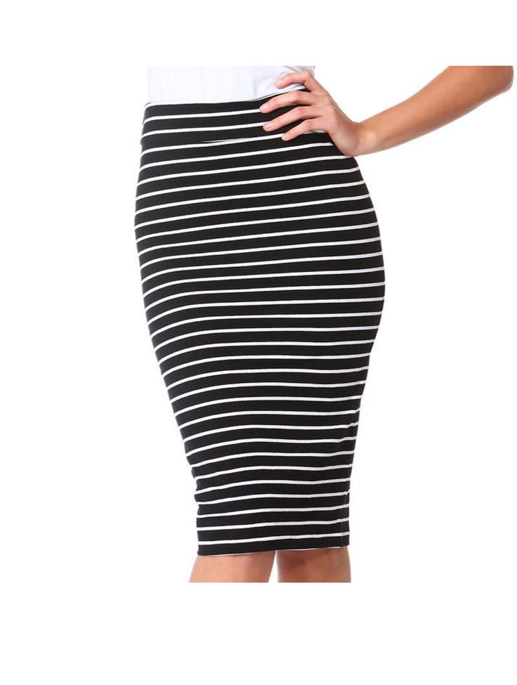 Betty Basics - Alicia Midi Skirt - Black/White Stripe