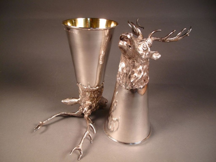 Pair Of Tiffany Amp Co Sterling Silver Stag Head Stirrup