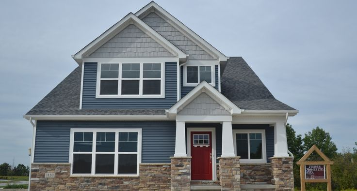 Blue Siding Homes Navy Blue Siding With Red Door For