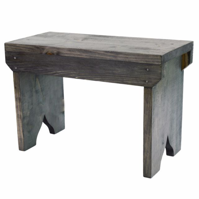 Small Wooden Stool Rustic Shabby chic rectangle seat  | eBay