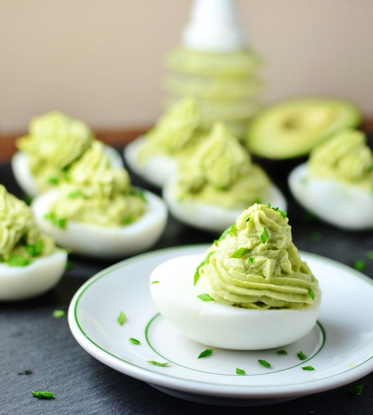 Avocado horseradish devilled eggs
