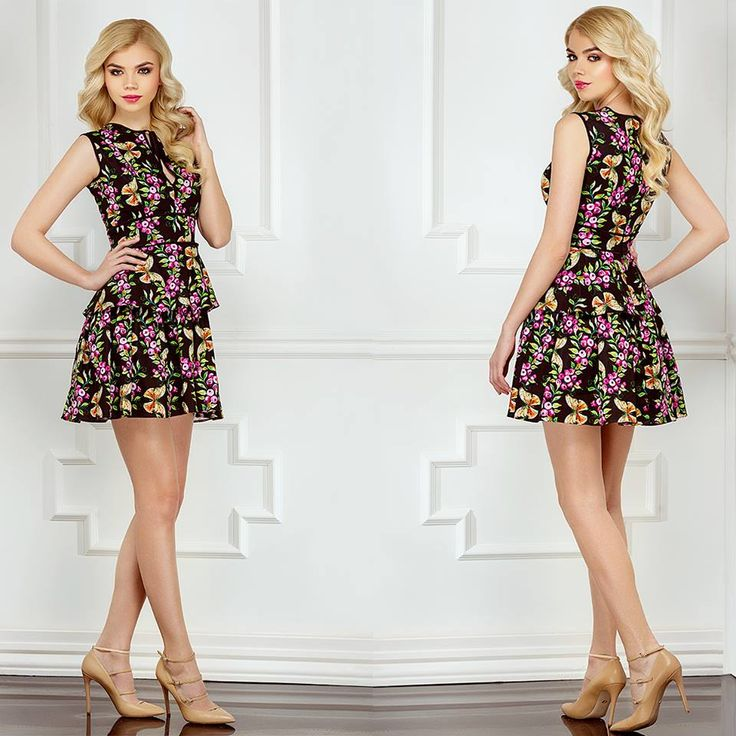 Short srping dress with ruffles and floral print: https://missgrey.org/en/dresses/short-day-dress-floral-print-and-ruffles-capri/504?utm_campaign=aprilie&utm_medium=rochie_capri&utm_source=pinterest_produs