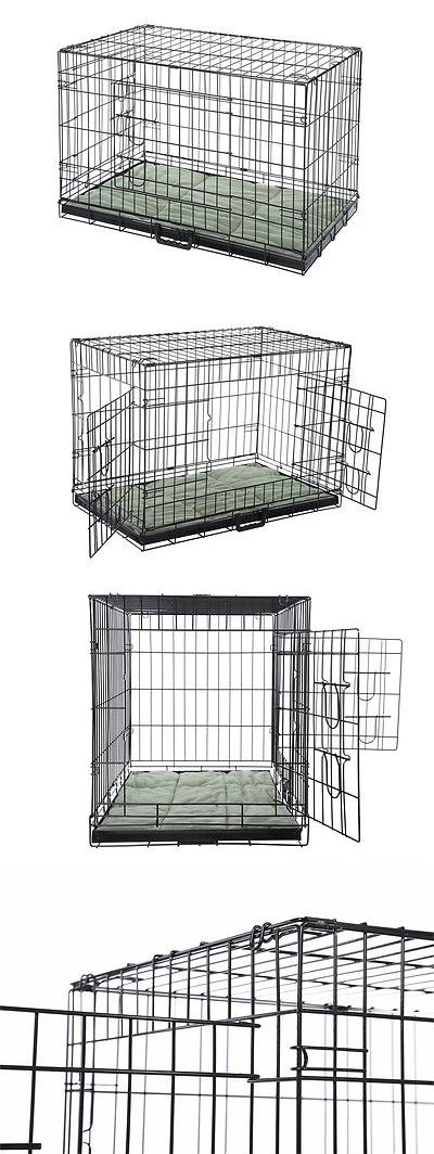 Animals Dog: Confidence Pet Folding Dog Crate Kennels 2 Door Puppy Cage With Bed BUY IT NOW ONLY: $38.99