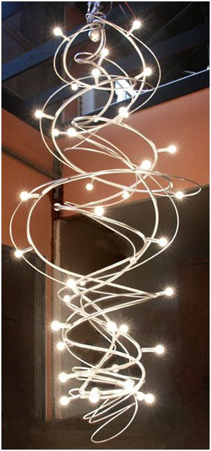 Large contemporary stairwell chandelier