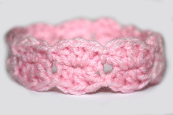 Newborn Baby Girl Pink Lacy Shell by TooLegitToKnitToo $5
