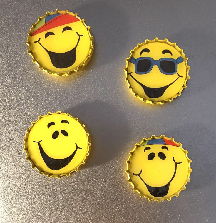 "Fun Smiley Emoji 1"" Bottle Cap Magnets"
