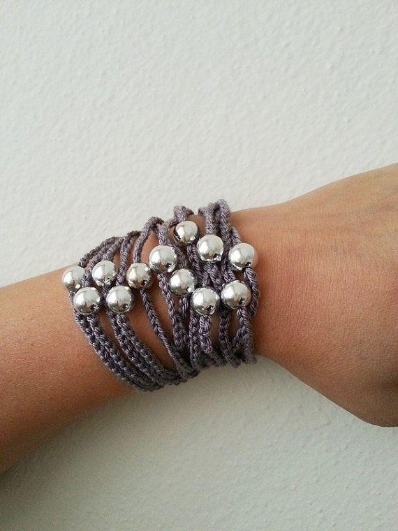 Gray  Handcrochet  Rope Bracelet with silvery by ArtofAccessory, $15.00