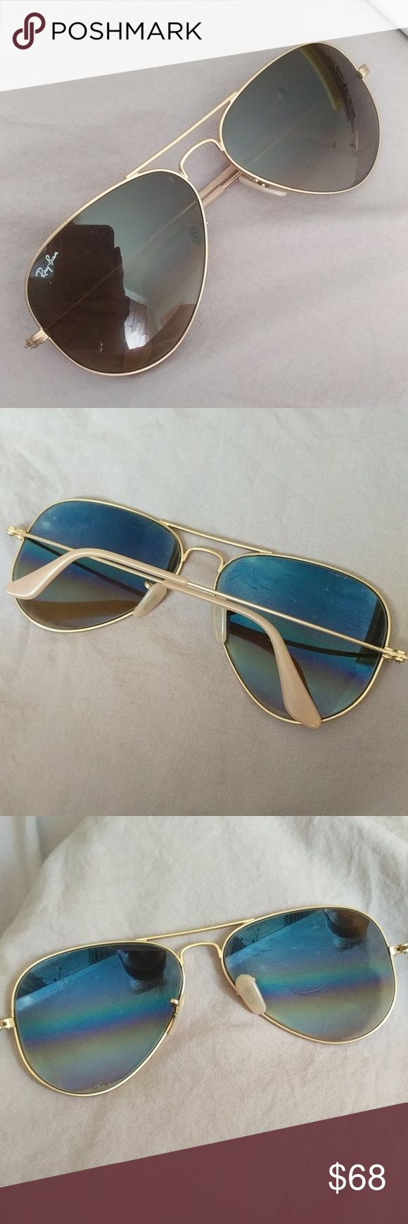 Ray-Ban large gold metal aviator sunglasses Authentic Ray-Ban RB 3025 large gold metal aviator sunglasses  Gently used. Comes with original box. Not polarized. Ray-Ban Accessories Sunglasses