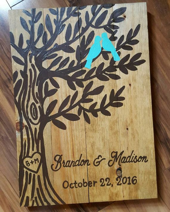 """Wedding Tree Customized Wood Sign  14"""" wide x 20"""" tall  All of my signs are handmade and handpainted by me, they may all have different imperfections so please keep in mind they may not all look exactly like the picture.   ANY SIGN CAN BE CUSTOMIZED, PLEASE MESSAGE ME FOR ANY SPECIAL REQUESTS!  *All of my signs DO NOT come with hangers on the back"""