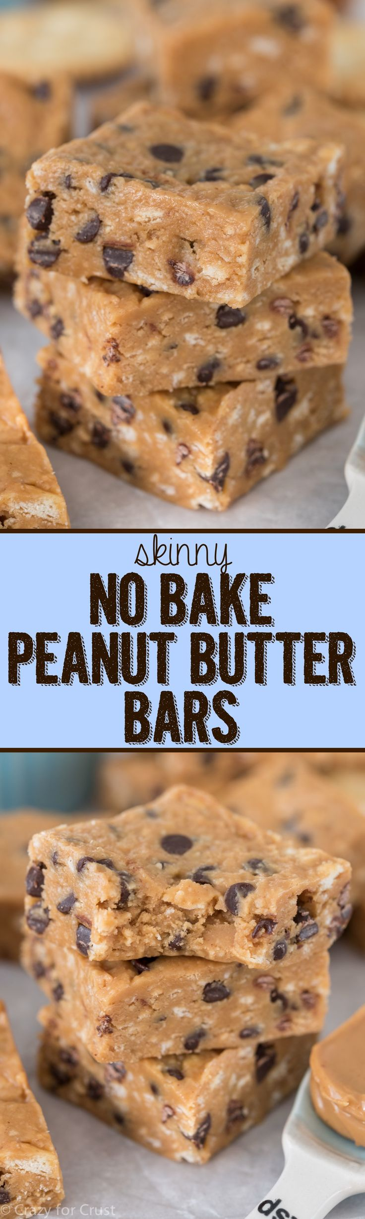 Skinny No Bake Peanut Butter Bars - this easy peanut butter bar recipe has way less calories and fat than the regular version and they're JUST as good if not better! More