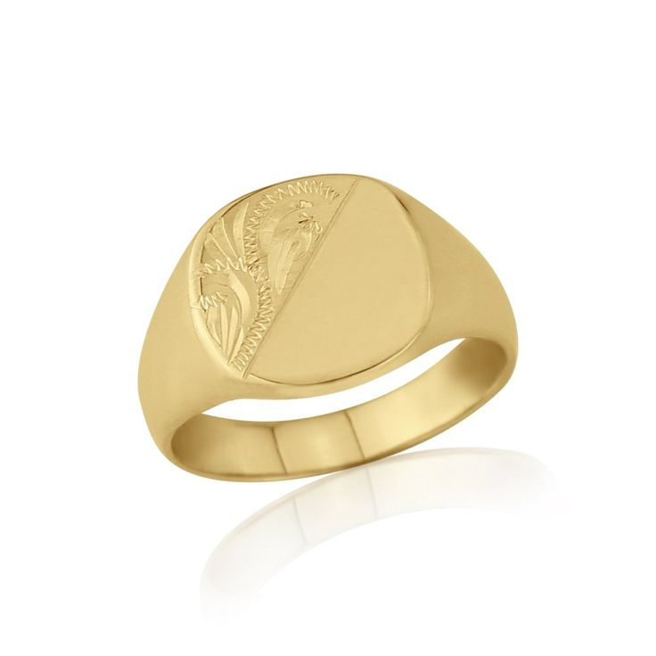 Star Wedding Rings: Cushion-Shaped 9ct Yellow Gold Medium Weight Engraved Signet Ring Signet Rings are back in style! Choose from our variety of shapes, styles. Weights,Widths and Prices to suit your taste and budget. Beautiful Wooden Ring box included. Free Delivery!  RRP: £235.84