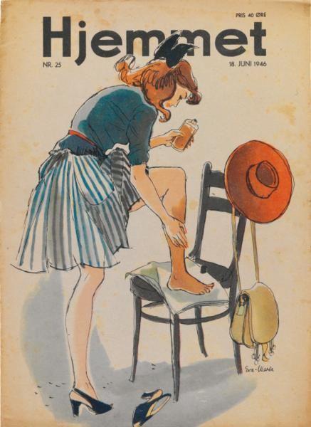 """Måske er sommeren i 1946 ikke så god når pigen på forsiden af """"Hjemmet"""" må smøre solbruner på i juni måned?"""