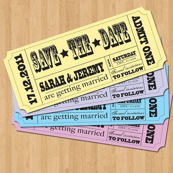 Save the Date Invitation - Vintage Ticket Style DIY Set