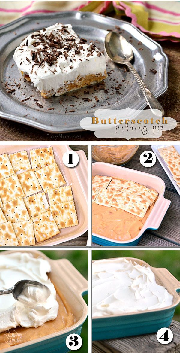 Easy Butterscotch Pudding Pie recipe at TidyMom.net This easy and delicious butterscotch pudding pie becomes magical when saltine crackers transform into a soft crust.