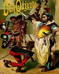 """A cover of Miguel de Cervantes' novel """"Don Quixote,"""" circa 1900.  Sources suggest that this book has sold 500 million copies"""