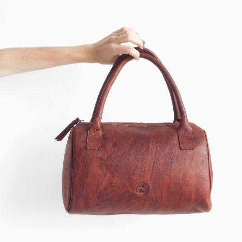 DAMAGED DUCHESS.Ivory Camel (Leather Bowling Bag) http://shop.damaged-duchess.com/product/ivory-camel
