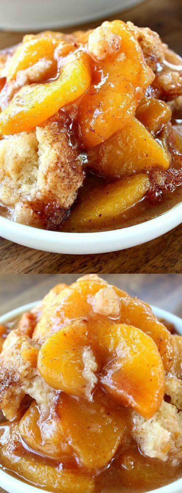 When you bake this Fresh Peach Cobbler recipe the mixture of the peaches with the cinnamon and the juices smell SO GOOD -- and taste even better!