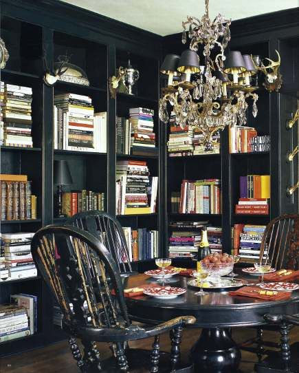 Bookcases in the dining room.  That's kinda where my tiny dining room is headed, except it's not nearly this sexy!