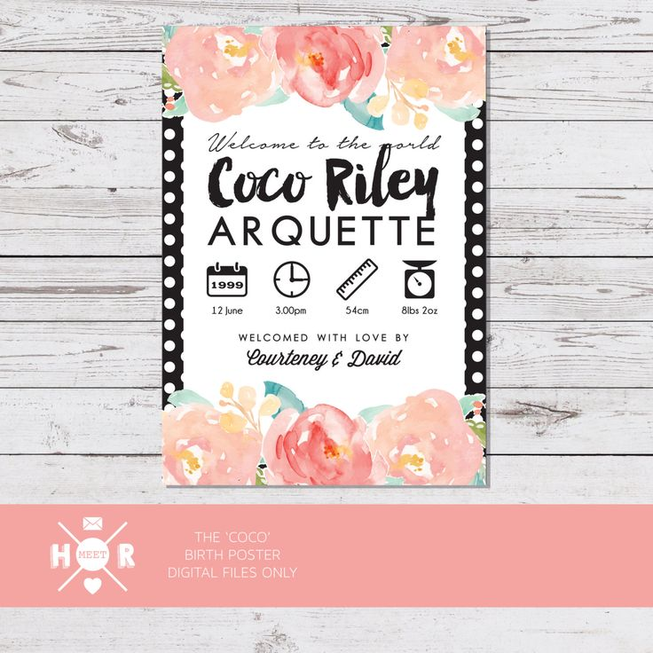 Printable - The 'Coco' Birth Announcement Poster | Gift | Nursery Art | Wall Art by hudsonmeetrose on Etsy