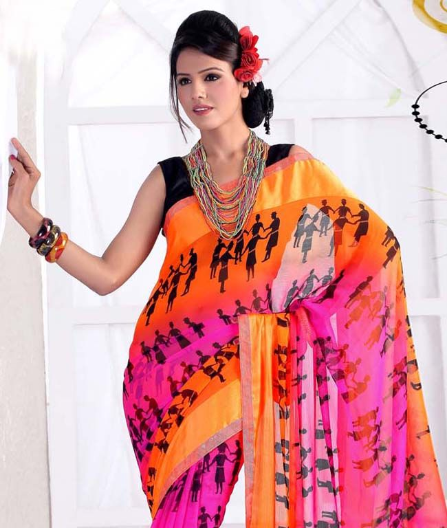 """If you are a true fashion cultivator of ethnic desires, this vogue collection of sarees from """"Ishya"""" will help you to justify the needs of your insatiable soul. Perfectly accentuating your feminine grace with ease, this range liberates the aesthetics of Indian tradition through the diversified designs in grace and sophistication. Unleash your shopaholic attitude through this collection with fashionandyou.com.BRAND: IshyaCATEGORY: Printed Saree with Unstitched…"""