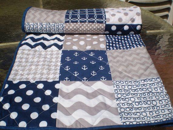 Nautical Baby Quilt Navy Grey Chevron Patchwork Crib Quilt