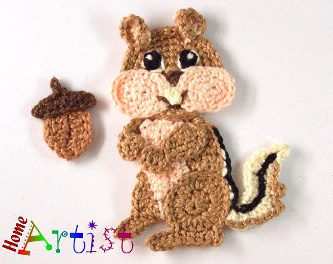 Crochet Applique chipmunk