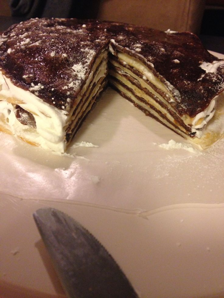 Layered crepe cake with whipped cream