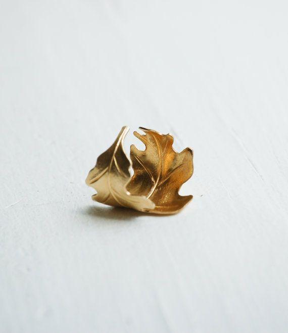 Golden LEAF anello romantico stile Vintage di redtruckdesigns