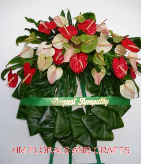 Anthuriums And Ti Leaves Sympathy Flowers Remembrance Flowers Funeral Arrangements