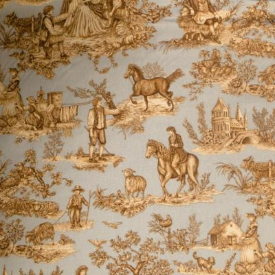 Cavalier Toile Copper On Celadon Indoor Upholstery