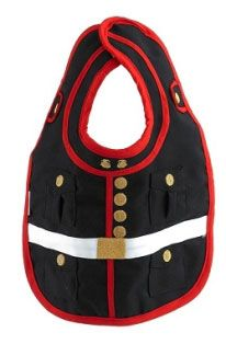 Marines Dress Blues Baby Bib. Styled after The Marine Corps Dress Blue uniform. It has a terry cloth backing and is machine washable.