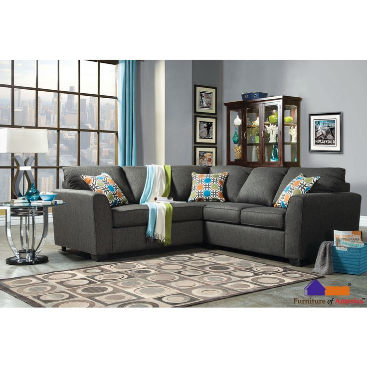 Furniture of america playan gray fabric sectional set by for Sectional sofa redo