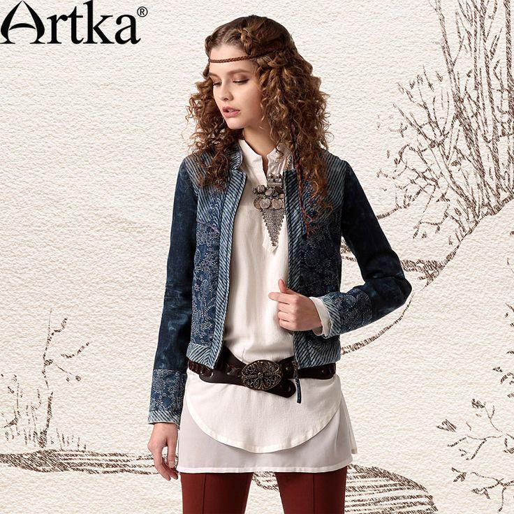Короткий джинсовый пиджак на молнии, украшенный вышивкой, 40083648922 купить за 15930 руб. с доставкой по России, Украине, Беларуси и миру | Жакеты | Artka: интернет-магазин обуви и одежды Artka