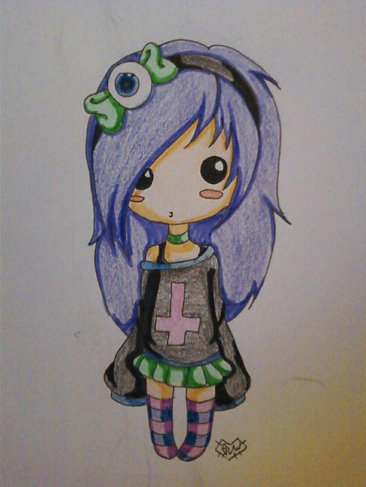 Cute Chibi pastel goth girl ^^